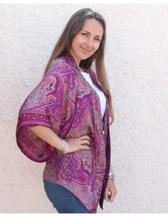 Kimono en soie violet motifs cachemire - Mosaik bijoux indiens 2
