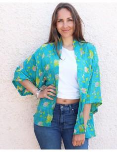 Kimono turquoise en soie - Mosaik bijoux indiens