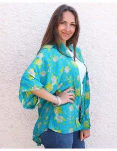 Kimono turquoise en soie - Mosaik bijoux indiens 2
