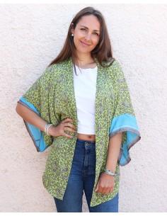 Kimono soie vert anis et gris - Mosaik bijoux indiens