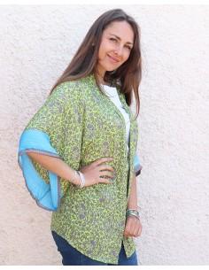Kimono soie vert anis et gris - Mosaik bijoux indiens 2