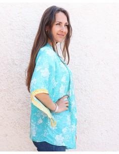 Kimono turquoise et fleurs blanches - Mosaik bijoux indiens 2