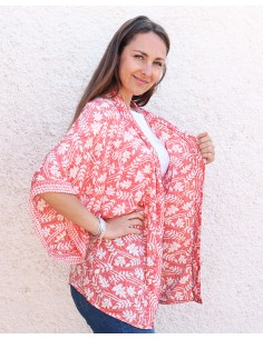 Kimono rose corail et blanc - Mosaik bijoux indiens 2