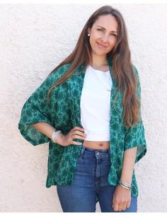 Kimono soie vert émeraude - Mosaik bijoux indiens