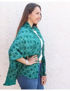 Kimono soie vert émeraude - Mosaik bijoux indiens 2
