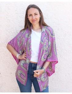 Kimono soie rose bohème chic - Mosaik bijoux indiens