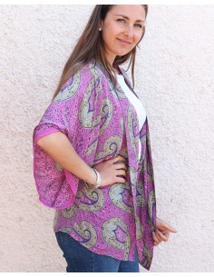 Kimono soie rose bohème chic - Mosaik bijoux indiens 2