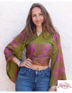 Cache-coeur fluide coloré manches chauve souris - Mosaik bijoux indiens
