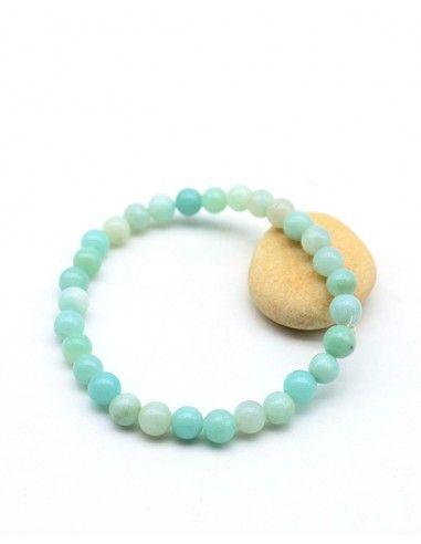 Bracelet amazonite bleue naturelle - Mosaik bijoux indiens