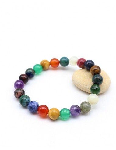 Bracelet pierres mélangées sur élastique- Mosaik bijoux indiens