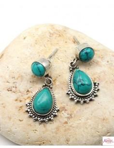 Puces d'oreilles ethniques argent et turquoise - Mosaik bijoux indiens