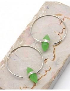 Créoles argent fines et jade - Mosaik bijoux indiens
