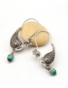 Boucles d'oreilles ethniques indiennes argent paon et malachite - Mosaik bijoux indiens