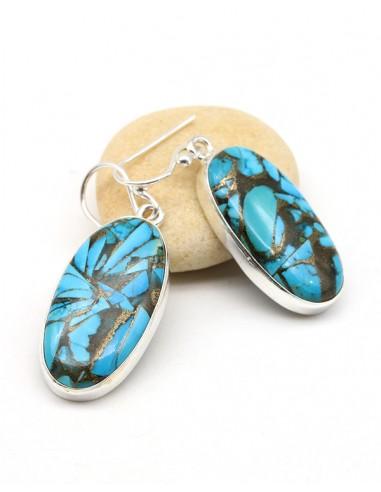 Boucles d'oreilles argent et turquoises ovales - Mosaik bijoux indiens