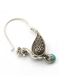 Boucles d'oreilles ethniques indiennes argent paon et malachite - Mosaik bijoux indiens 2