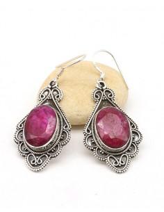 Boucles d'oreilles ethniques argent travaillée et rubis - Mosaik bijoux indiens
