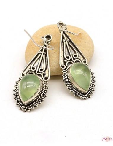 Boucles d'oreilles pendantes ethniques en argent et préhnite - Mosaik bijoux indiens
