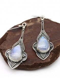 Boucles d'oreilles argent ethniques et pierre de lune - Mosaik bijoux indiens