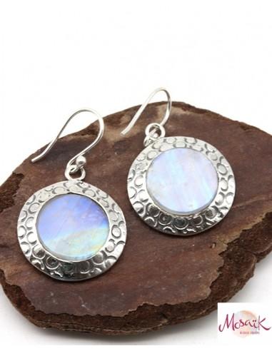 Boucles d'oreilles argent rondes et pierre de lune - Mosaik bijoux indiens
