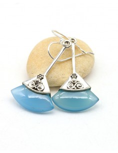 Boucles d'oreilles argent ethniques et agate bleue - Mosaik bijoux indiens