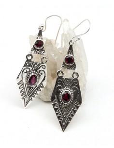 Boucles d'oreilles ethniques en argent mât et grenat - Mosaik bijoux indiens