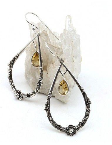 Boucles d'oreilles argent travaillées et citrine - Mosaik bijoux indiens