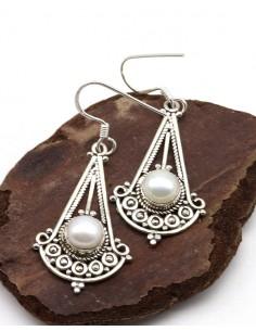 Longues boucles d'oreilles argent et perles - Mosaik bijoux indiens