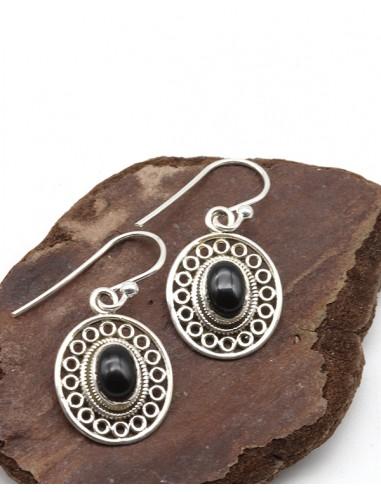 Boucles d'oreilles argent ethniques ovales et onyx - Mosaik bijoux indiens