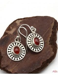 Boucles d'oreilles argent ethniques ovales et cornaline - Mosaik bijoux indiens