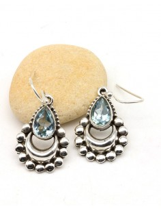 Boucles d'oreilles argent ethniques et topaze bleue - Mosaik bijoux indiens