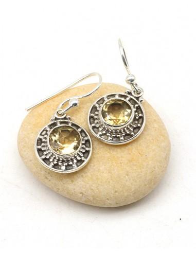 Boucles d'oreilles argent ethniques et citrine - Mosaik bijoux indiens