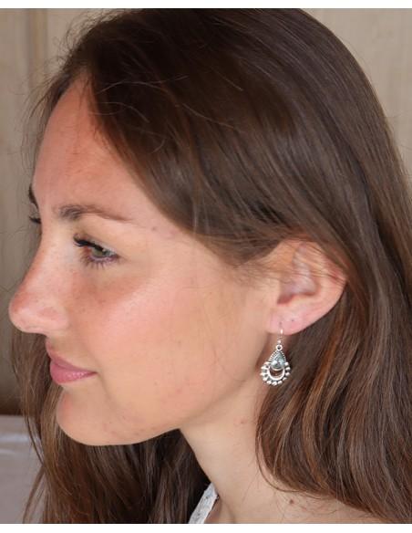 Boucles d'oreilles argent bohème chic et topaze bleu - Mosaik bijoux indiens