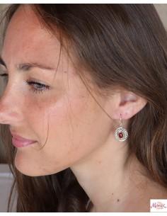 Boucles d'oreilles argent ethniques ovales et cornaline - Mosaik bijoux indiens 2
