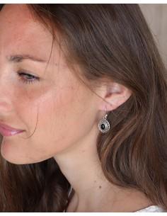 Boucles d'oreilles argent ethniques ovales et onyx - Mosaik bijoux indiens 2