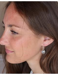 Boucles d'oreilles argent ethniques et labradorite ovales - Mosaik bijoux indiens 2