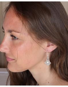 Longues boucles d'oreilles argent et perles - Mosaik bijoux indiens 2