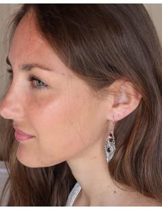Boucles d'oreilles ethniques en argent mât et grenat - Mosaik bijoux indiens 2