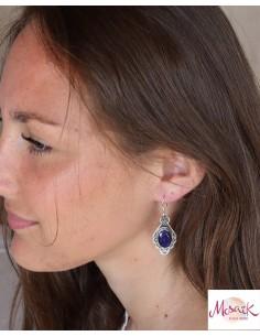 Boucles d'oreilles ethniques en argent et saphir - Mosaik bijoux indiens 2