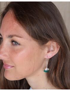 Boucles d'oreilles ethniques en argent et malachite - Mosaik bijoux indiens 2