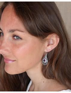 Boucles d'oreilles ethniques et améthyste - Mosaik bijoux indiens 2