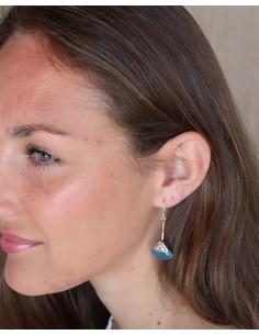 Boucles d'oreilles argent ethniques et agate bleue - Mosaik bijoux indiens 2