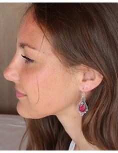 Boucles d'oreilles ethniques argent travaillée et rubis - Mosaik bijoux indiens 2