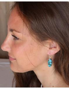 Boucles d'oreilles argent et turquoises ovales - Mosaik bijoux indiens 2