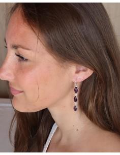 Boucles d'oreilles fines argent et améthystes - Mosaik bijoux indiens 2
