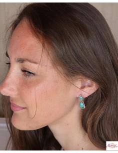 Puces d'oreilles ethniques argent et turquoise - Mosaik bijoux indiens 2
