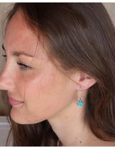 Boucles d'oreilles argent ethniques travaillées et turquoise - Mosaik bijoux indiens 2