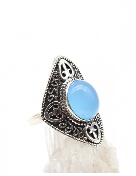 Bague argent bohème chic et agate bleue - Mosaik bijoux indiens
