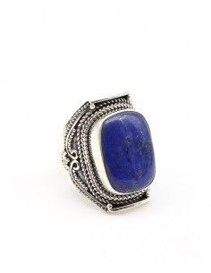 Bague argent ethnique et lapis lazuli - Mosaik bijoux indiens