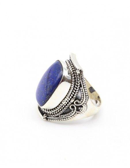 Bague argent travaillée et lapis lazuli - Mosaik bijoux indiens