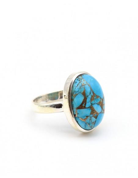Bague en argent et turquoise de mohave - Mosaik bijoux indiens